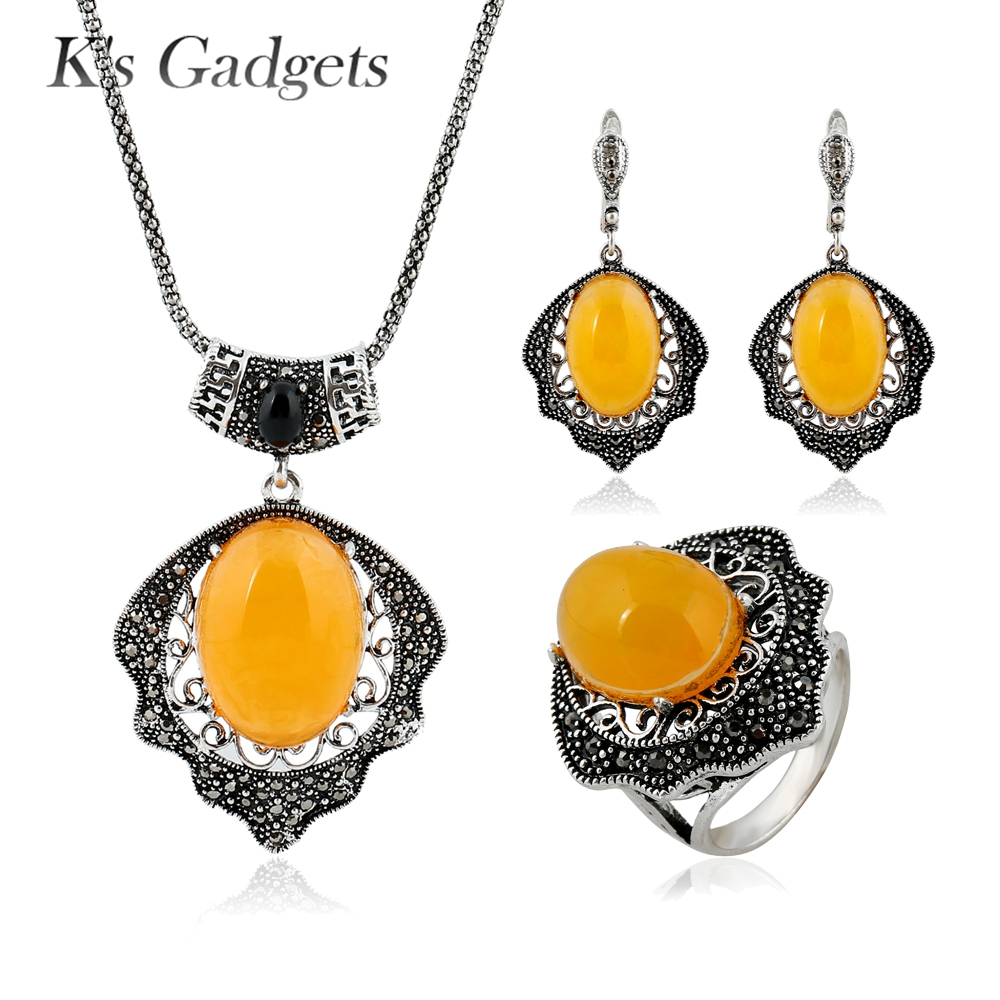 Yellow Natural Stone Jewlery Sets For Women Vintage Rhinestone Antique Silver Plated Earrings/Ring /Necklace Set a suit of gorgeous rhinestone faux sapphire necklace bracelet ring and earrings for women