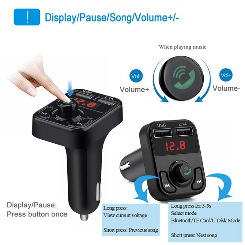 VicTsing Bluetooth MP3 Player FM Transmitter Handsfree Wireless Radio Adapter USB Car Charger 2.1A MP3 Player SD Music Playing   (4)