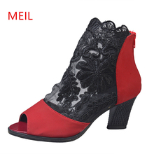 35-43 Mesh Peep Toe Sandals Sexy Heels Single Shoes Women Summer in Europe and America 2019 Spring Gauze Fetish High