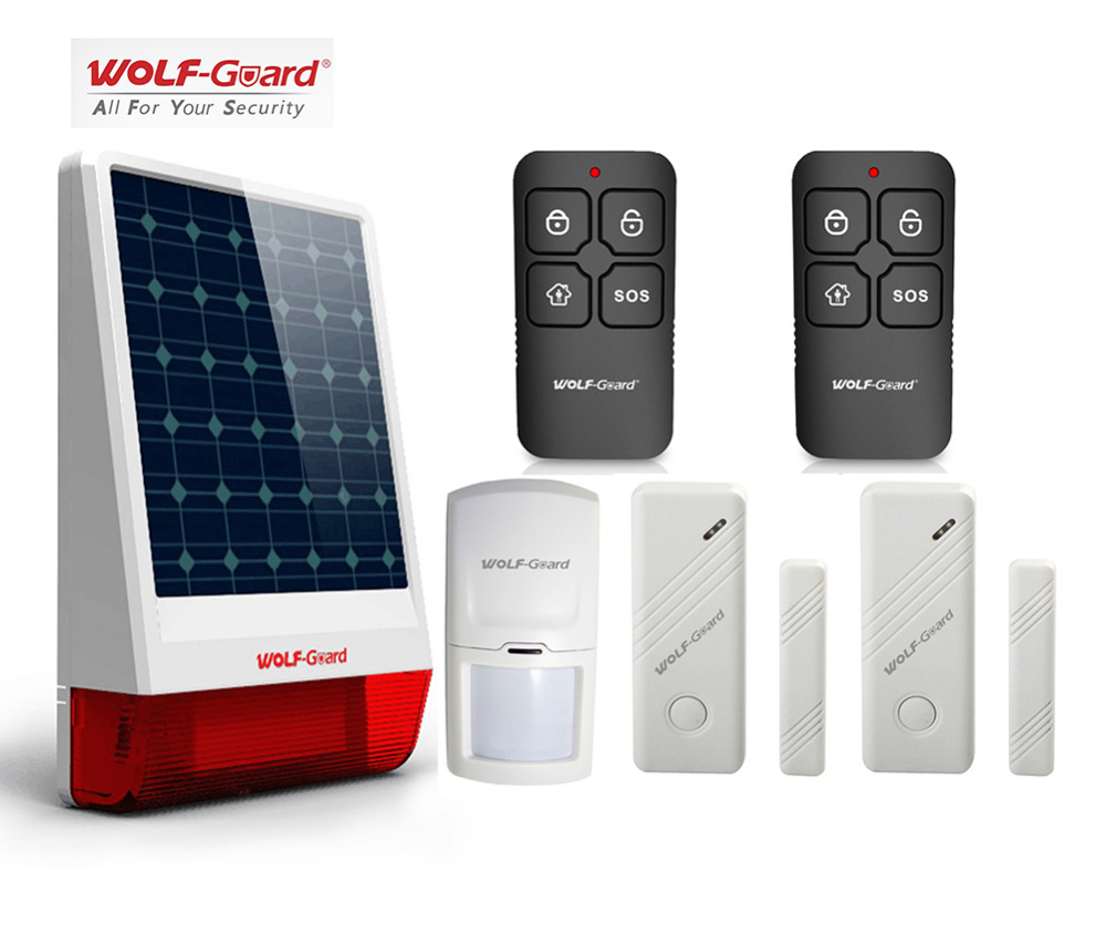 Wolf-Guard DIY Wireless Outdoor Weather-Proof Solar Siren Security Alarm Burglar System Door Sensor PIR Motion Detector Keyfobs