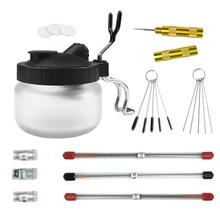 Bottles-Holder Cleaner-Tools-Set Airbrush Spray-Gun Paint-Station Glass-Jar Frosted Stabilizer
