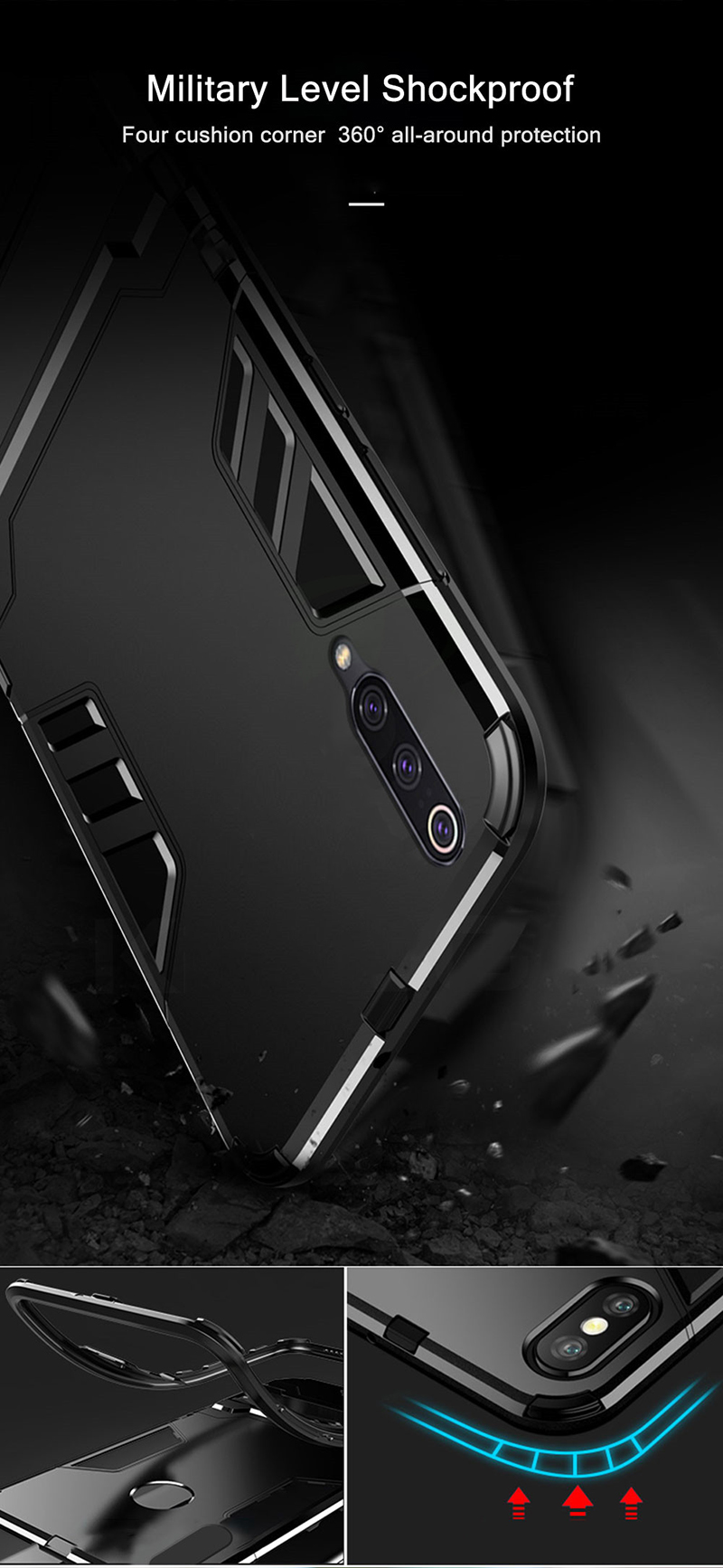 HTB13 B XfWG3KVjSZPcq6zkbXXaS Bat Kickstand Case For Samsung Galaxy S9 S10 Plus S10e Note 9 Samsung A70 A50 A30 M30 M20 Shockproof Armor TPU + PC Tough Cover