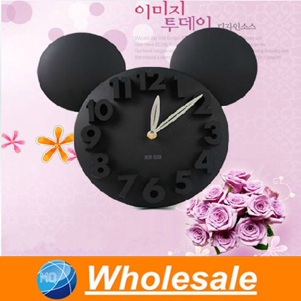 Cartoon creation of 3 d digital wall clock, novel children bedroom adornment wall clock, wall clock,Red, pink, blue