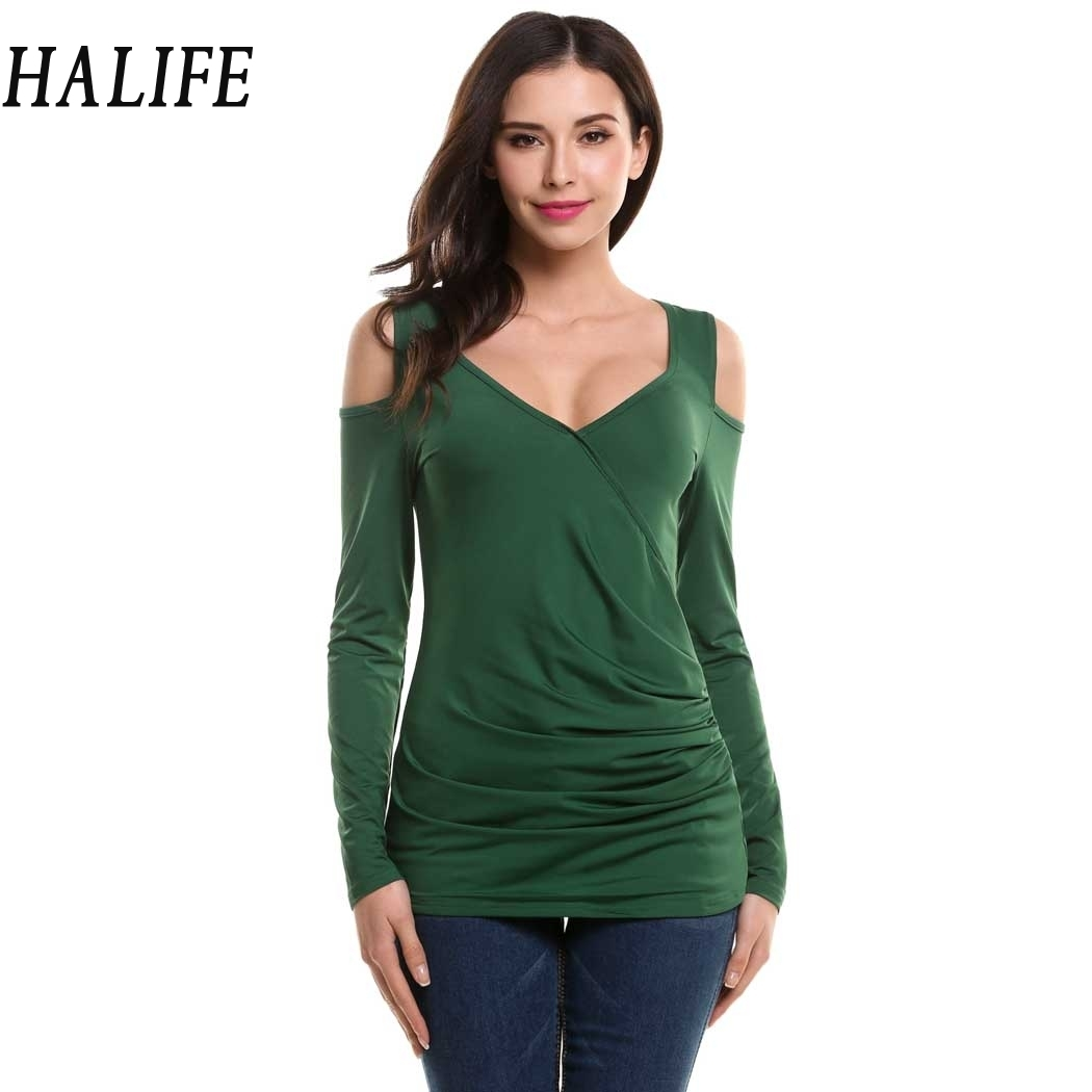 HALIFE New Women Tshirts V-Neck Long Sleeve Off Shoulder Top Pleated Bodycon Wrap T-Shirt Green Tee Shirt Femme Clothing S30