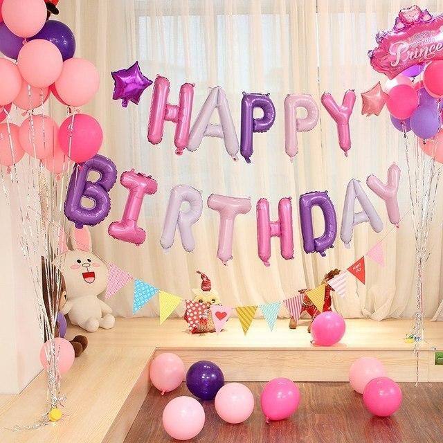 Glücklich Geburtstag Ballon Air Buchstaben Alphabe Rose
