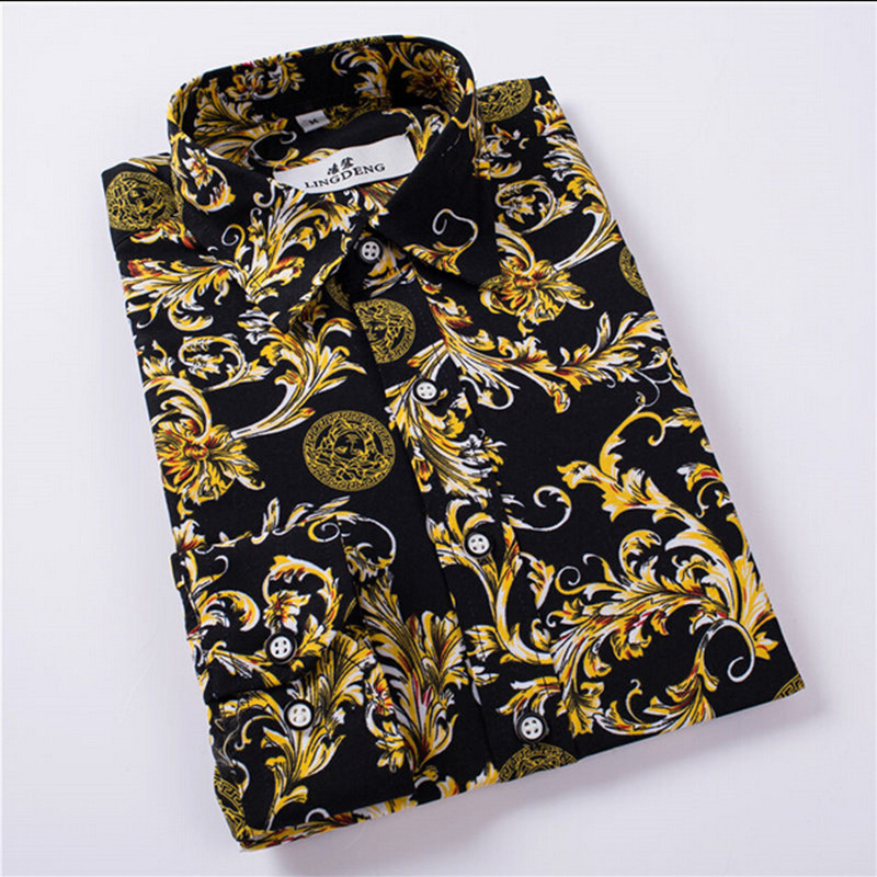 Hot Sale Size M 4XL 2017 New Fashion Floral Print Slim Fit Shirts Men s Long