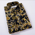 Hot Sale Size: M-4XL / 2017 New Fashion Floral Print Slim Fit Shirts Men's Long Sleeve Casual Dress Shirts 19 Colors