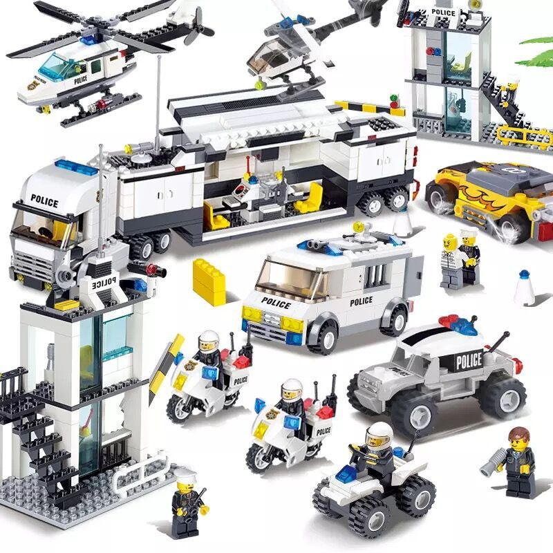 City Police SWAT Helicopter Car Compatible LegoINGLY DIY Building Blocks Sets Figures Creator Bricks Playmobil Toys for Children