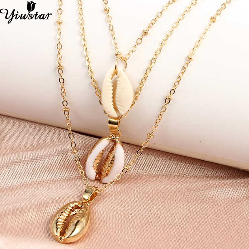 Yiustar Seashell Pendant Necklace for Women Girls Boho Style Natural Shell Gold Cowrie Choker Necklace Simple Oecan Beach Gifts