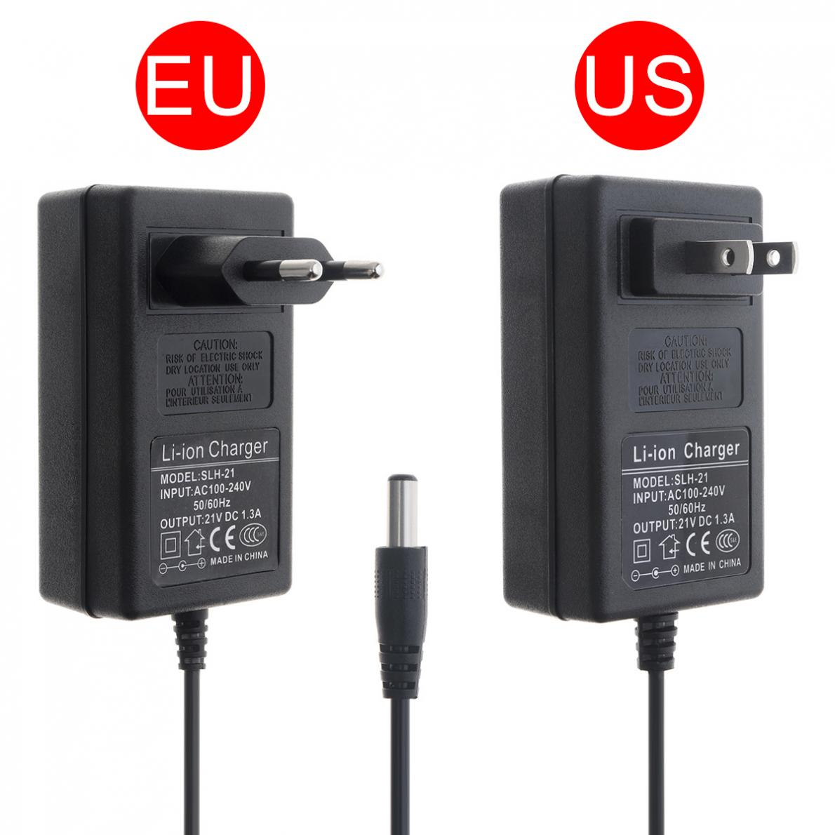 90cm PVC 21V Power Adapter Charger With EU Plug And US Plug For Lithium Electric Drill / Screwdriver / Wrench