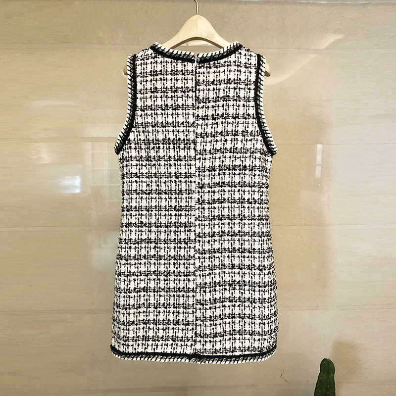 חדש אופנה 2019 מעצב לארוג משובץ צמר טוויד שמלת נשים של פנינים ואגלי O צוואר אלגנטי ללא שרוולים אפוד שמלה