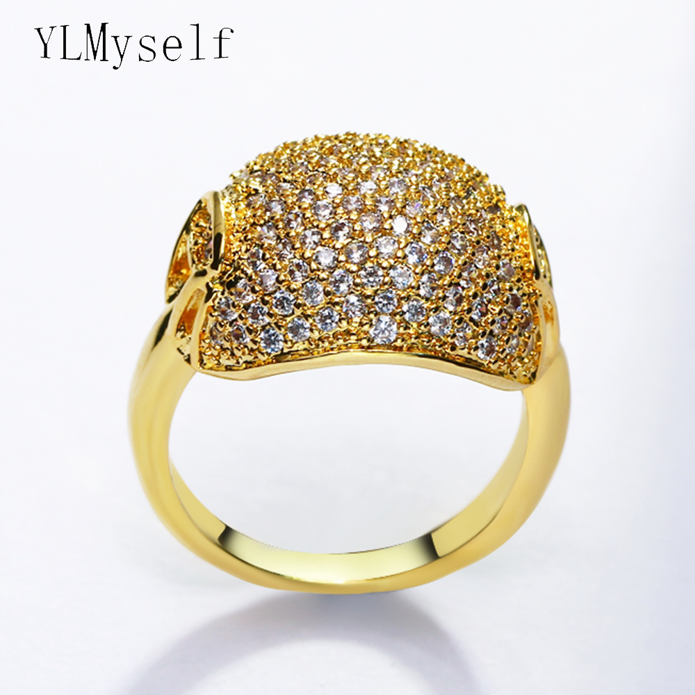Limiated quantity big sales ring Gold color pave crystal aneis anillos recomend stock clearance female rings
