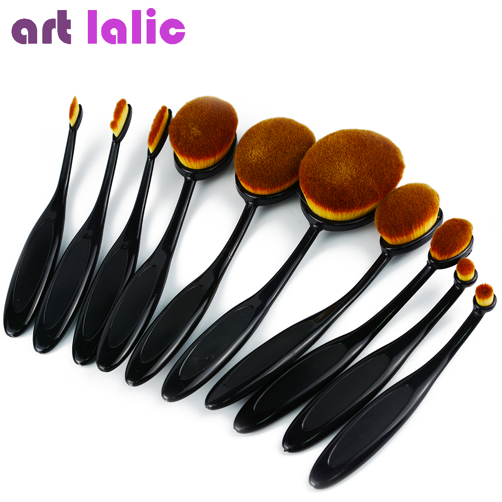 10PC/Set Pro Toothbrush Shaped Contouring Eyebrow Foundation Power Face Eyeliner Lip Oval Cream Puff Brushes Makeup Beauty Tools