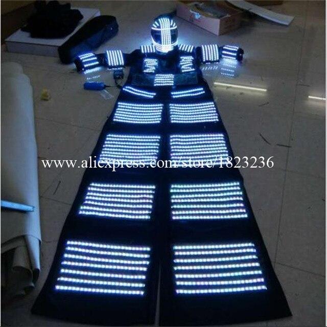 Led Luminous Stilt  Robot Suit With LED Helmet Illuminated LED Clothing Growing Light  Performance Stage Kryoman Robot Costume