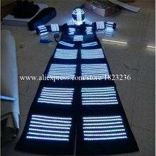 С подсветкой Свая Робот Костюм со светодиодной шлем с подсветкой led Костюмы растущий свет сцена kryoman робот костюм