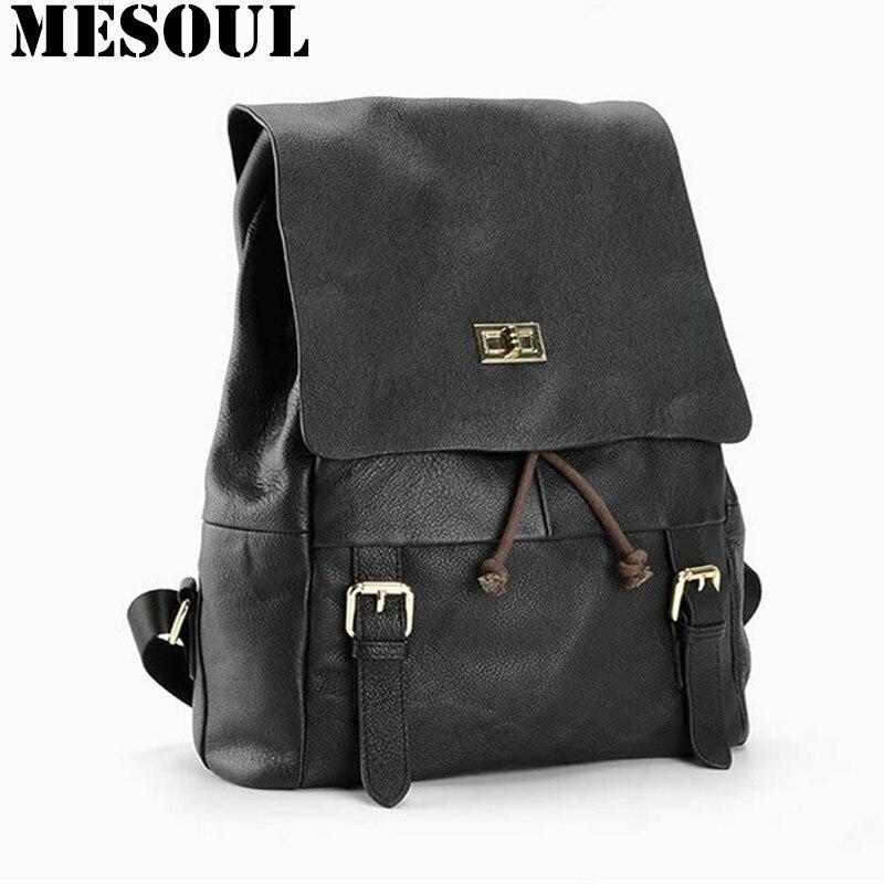 ФОТО Casual Women Real Genuine Leather Backpack Fashion Shoulder Bags for Girl Shoolbag Travel Bag mochila feminine backpack
