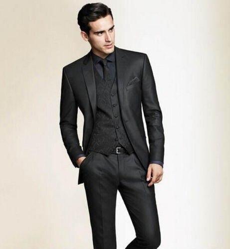 Топ продаж Новый черный на заказ две кнопки смокинг для мужчин Жених смокинги мужчин Бальные платья (куртка + брюки + жилет + галстук)