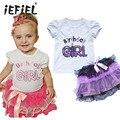 Primeiro Primeira Roupa de Festa De Aniversário Do Bebê Menina 2 PCS Roupas de Verão define Camisa Top T Bolo Plissado Saia Tutu Crianças Roupas rosa