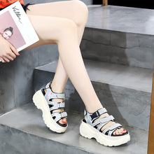 Liren Summer New Style Lycra Hook&Loop Luxurious Reflective Cloth Bling Shoes Woman Causal Sandals High Platform Sneakers