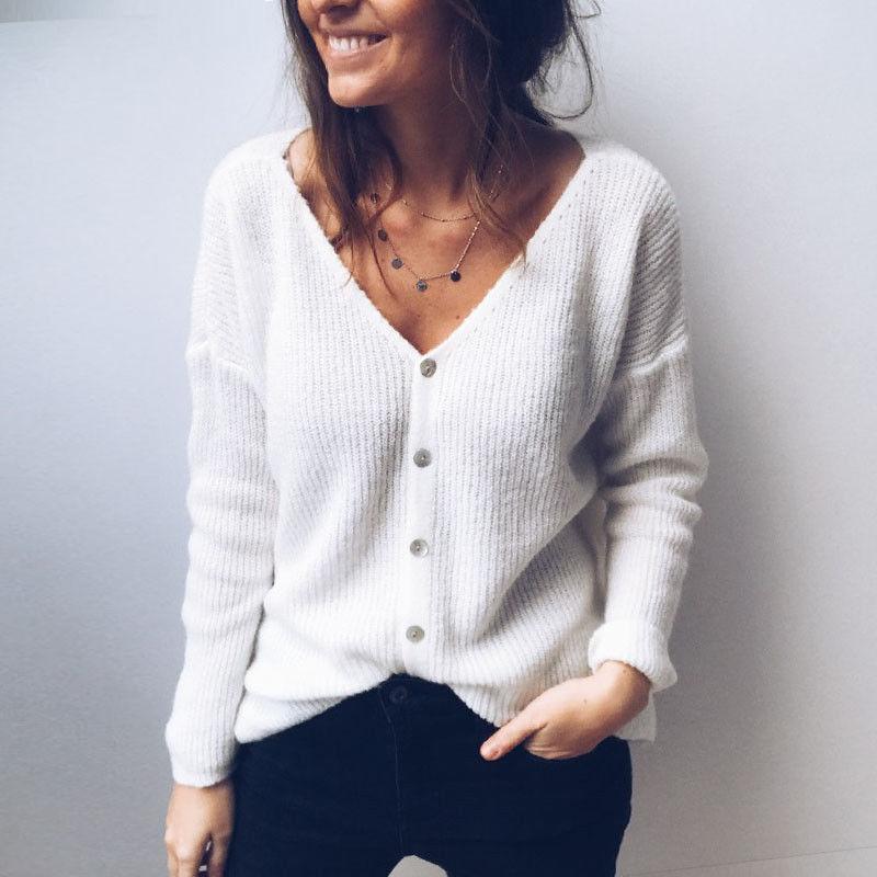 Stylish Hot Sale Women Fashion Knitted Sweater Tops Solid Single Breasted V-Neck Warm Knitwear Outwear Cardigan Coat Jacket
