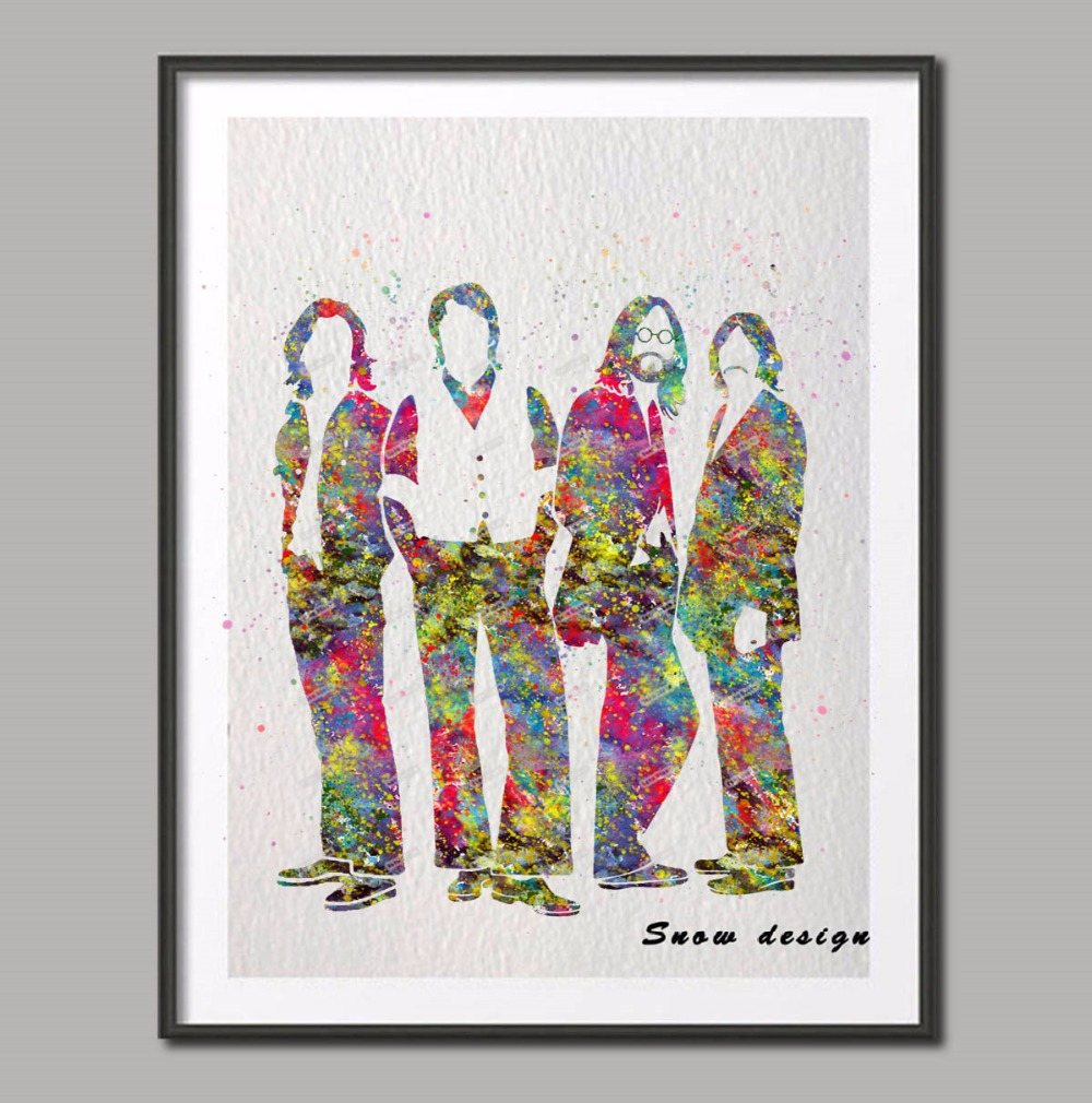 Très Aquarelle originale Le Beatles mur art affiche imprimer Des Photos  QM59