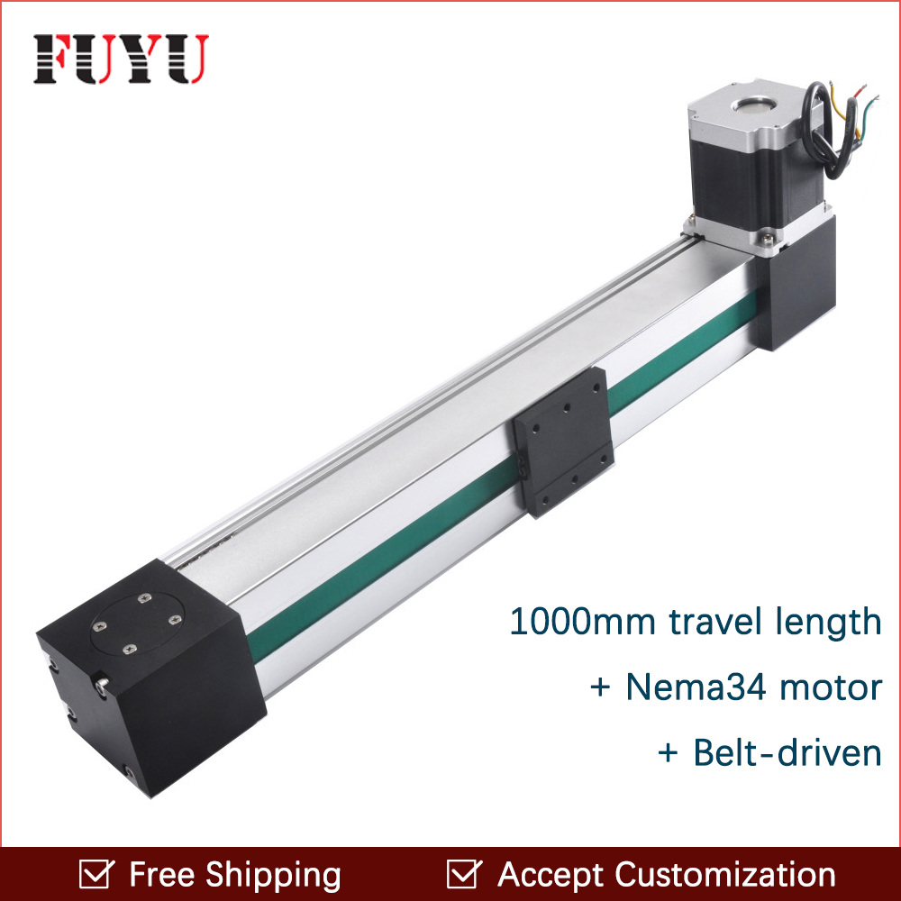 Free shipping High Speed 2000mm Belt Drive Cnc Linear Guide Rail Slide Motion Stage Stepper Motor