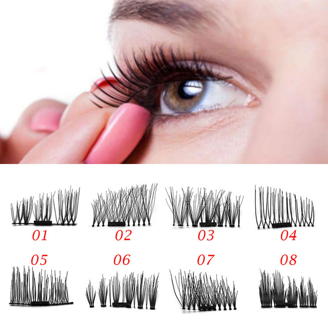 2dfdb3a53b2 2Pair Reusable Ultra-thin Magnet 3D Magnetic False Eyelashes Black Thick  Cross Eye Lashes Extension Tools No Glue