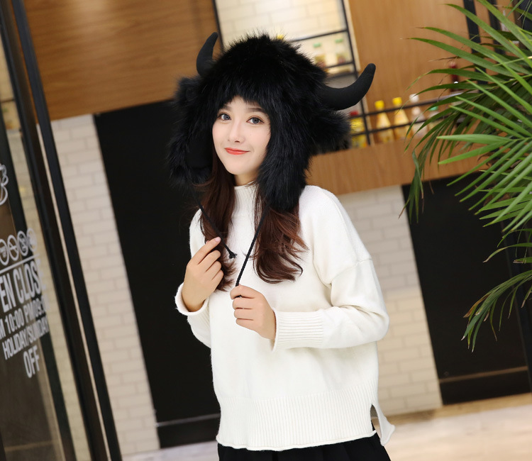 2017 Winter Faux Fox Fur Caps for Women Warm Bomber Hats with Ears Girls Novelty Cartoon Animals Party Caps Female Hats Gift 9