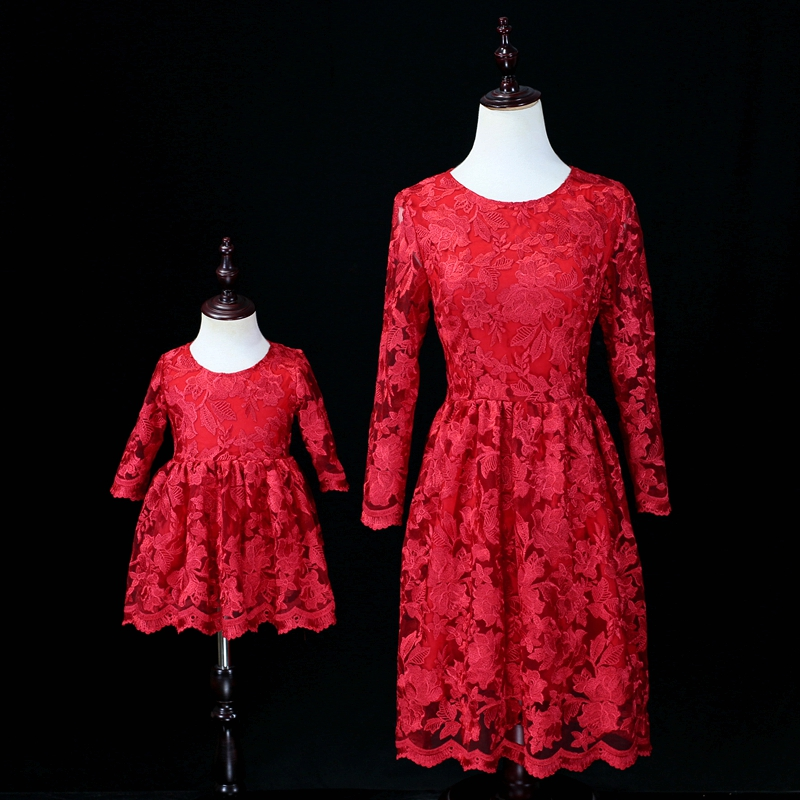 Autumn floral embroidery lace dress family look clothes girl kids fashion party dress matching mother and daughter formal dress brand a line floral embroidery pleated sleeveless skirts women girl sundresses family matching clothes mother and daughter dress