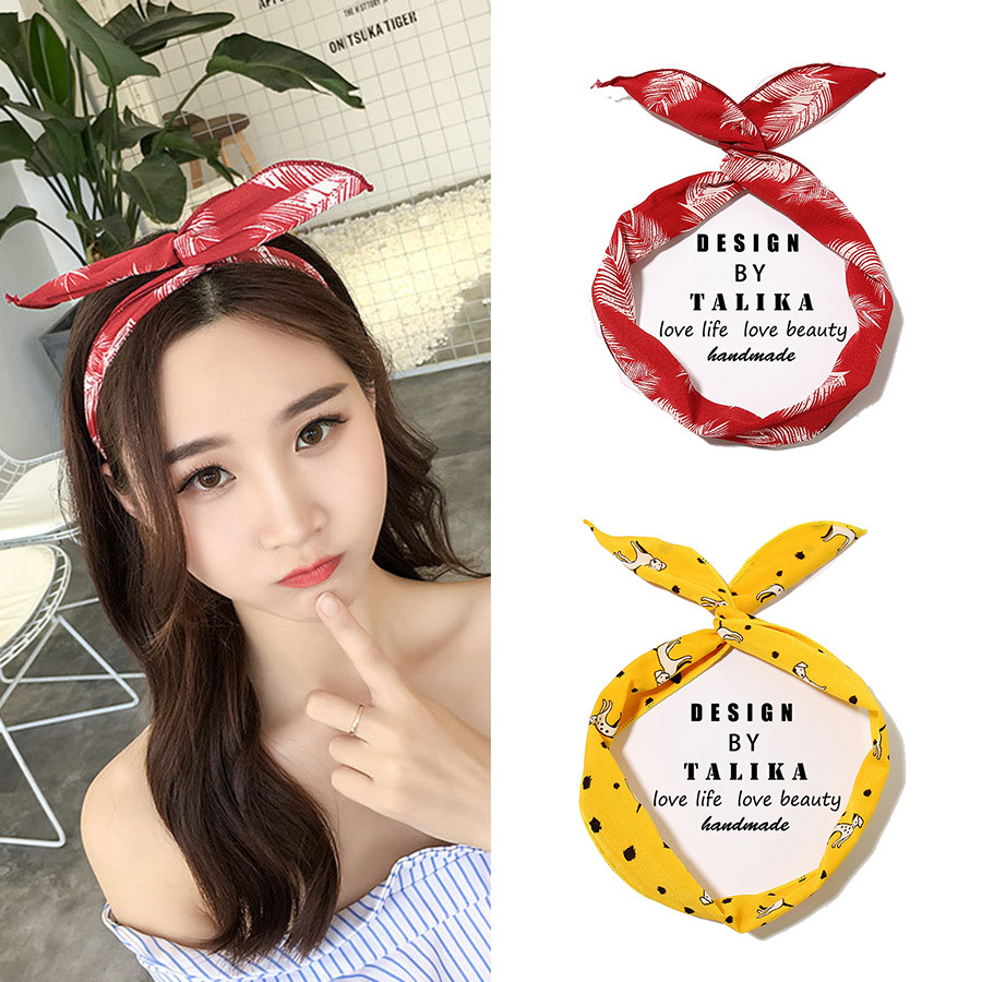 1Pc Cute Print Flower Dots lip print flower Bunny Rabbit Ear Ribbon   Headwear   Hairband Metal Wire Scarf Headband Hair Band Access