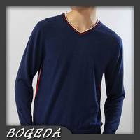 Cashmere Sweater Men S Pullover V Neck Fashion Style Navy Blue Solid Natural Fabric High Quality