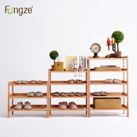 FengZe Furnishing FZ821 Modern Solid Wood Shoes Storage Multifunction Solid Wood Flower Rack Standing Plants Display