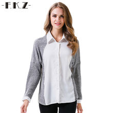 FKZ Autumn Cotton Knitting Women Blouse Tops 2017 New Gray And White Patchwork Long Sleeve Shirt Women Outwear Blusas JR1165