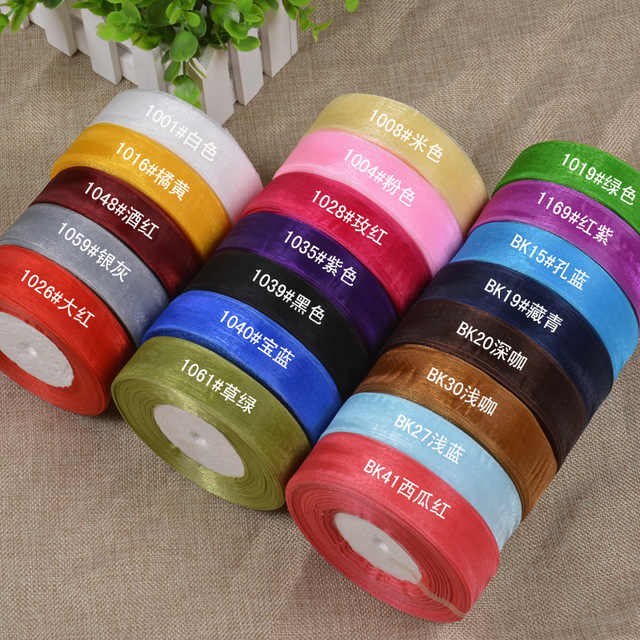45M/Lot Width 20MM Chiffon silk Organza Polyester Ribbon DIY Craft Decor Gifts package Wrapping Scrapbooking gold silver shine
