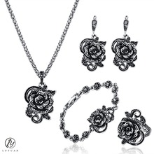 Luxury Women Wedding Jewelry Silver Color Bridal Set Trendy Flower Jewelry Fashion Black Crystal Necklace Set Vintage Party Sets