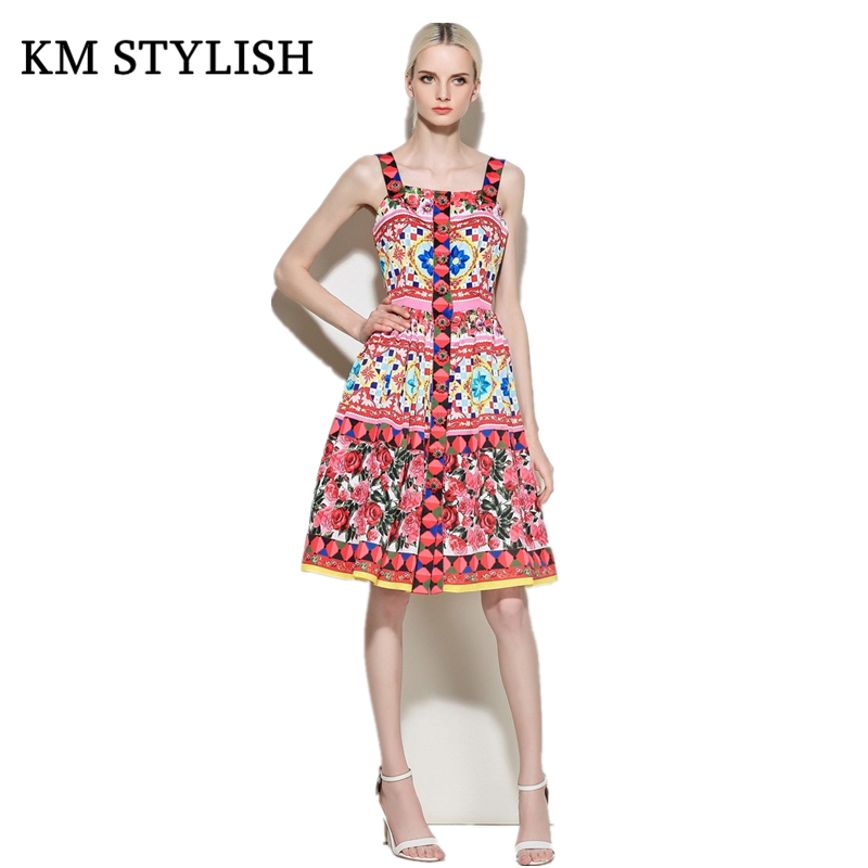 [New Sale]Rose Manor Resort Wind Sleeveless One-piece Dress Exquisite Print Button Beading Slim Spaghetti Strap Pleated Dress
