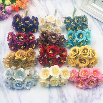 6 PCS (3.5 cm/a) artificial stamens silk tea rose bouquets of flowers/wedding wreath of household garden DOY collage gift box image