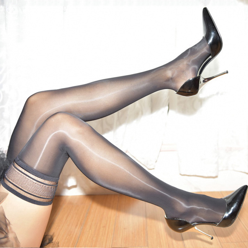 Hot New Sexy Women Lace Top Striped Pantyhose Nylon Shiny Thigh High Stockings Oil Flashing Over Knee Elastic Hosiery Plus Size