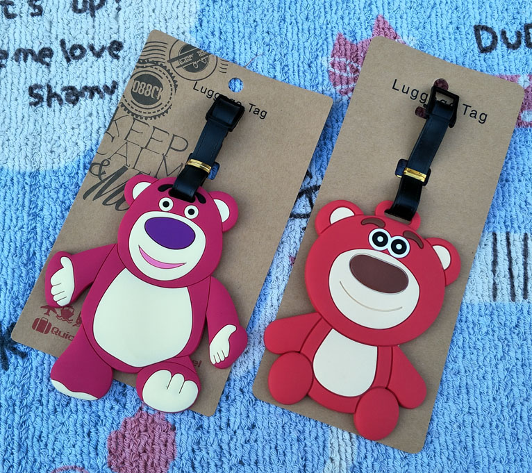 Lotso Bear Soft Anime Action Q version Figures Cartoon Luggage PVC Decorative Suitcase Figure Ornaments Tags Toy New Gifts