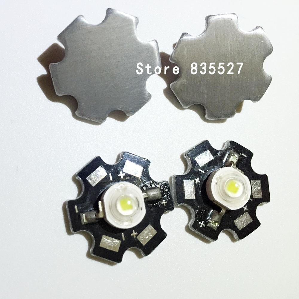 2pcs 3W white LED Heat Sink Aluminum Base Plate PCB Board Substrate 20mm LM Parts / Flashlight / Bulb Spotlight for DIY lights 348lm white bulb plate for flashlight white