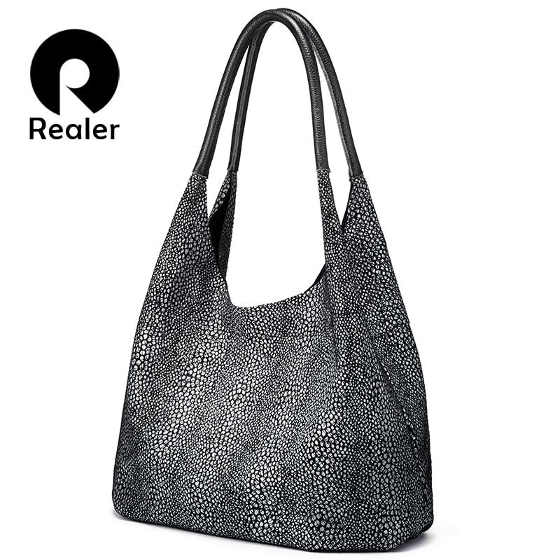 Realer handbag for ladies women shoulder bag high quality genuine leather Tote bags luxury designer fashion