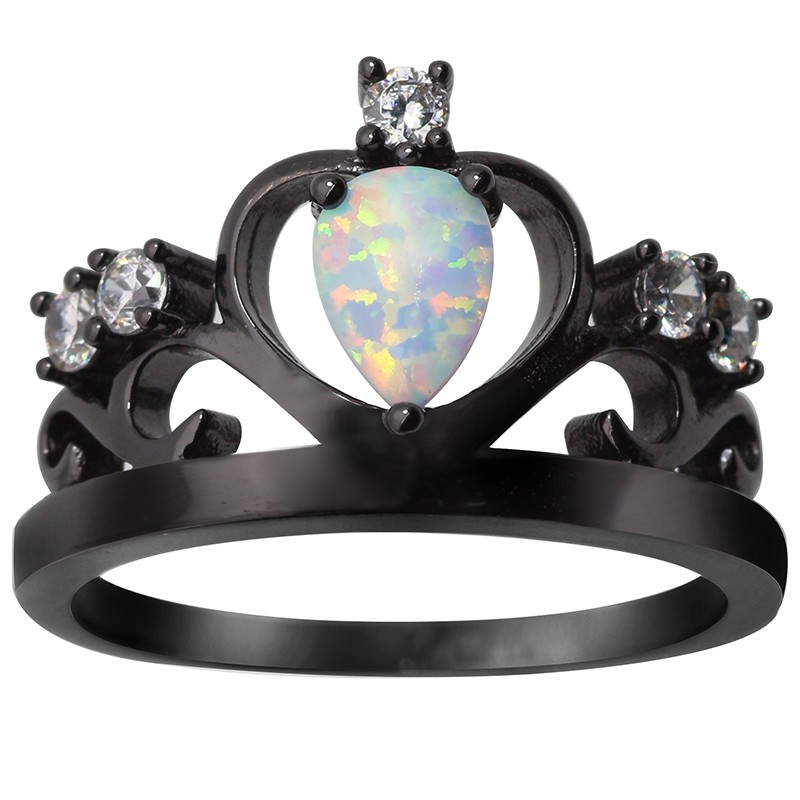 Black fire opal ring
