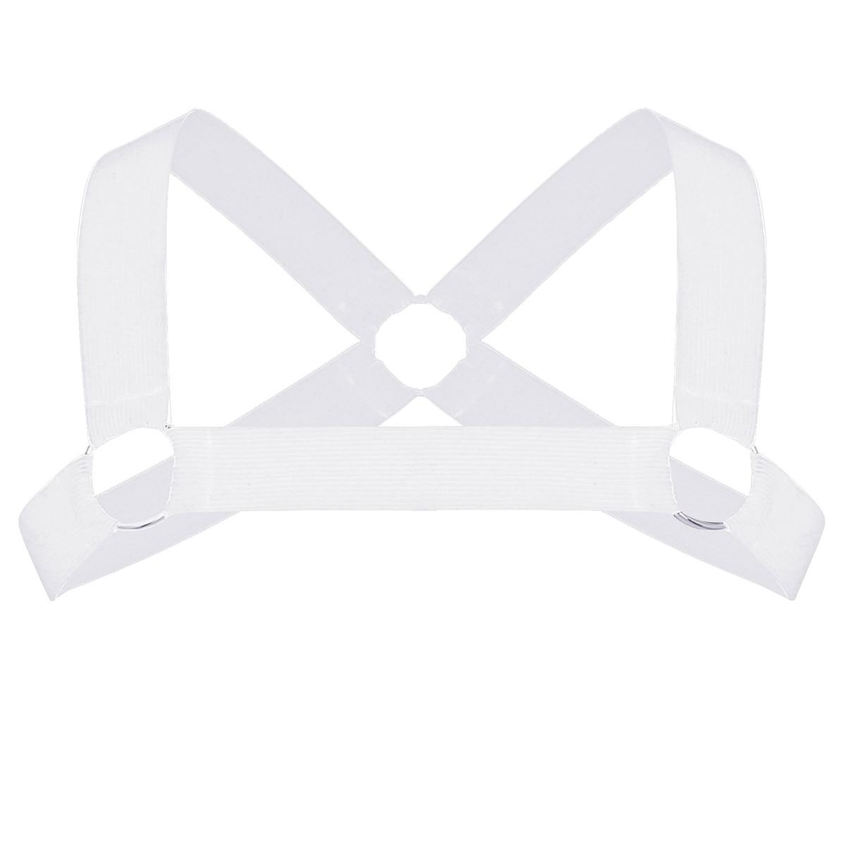 Мужские x-образные ремни на спине, мужские эластичные ремни на плечо, грудь, пояс с о-образными кольцами, Необычные Клубные вечерние костюмы, ремень - Цвет: White