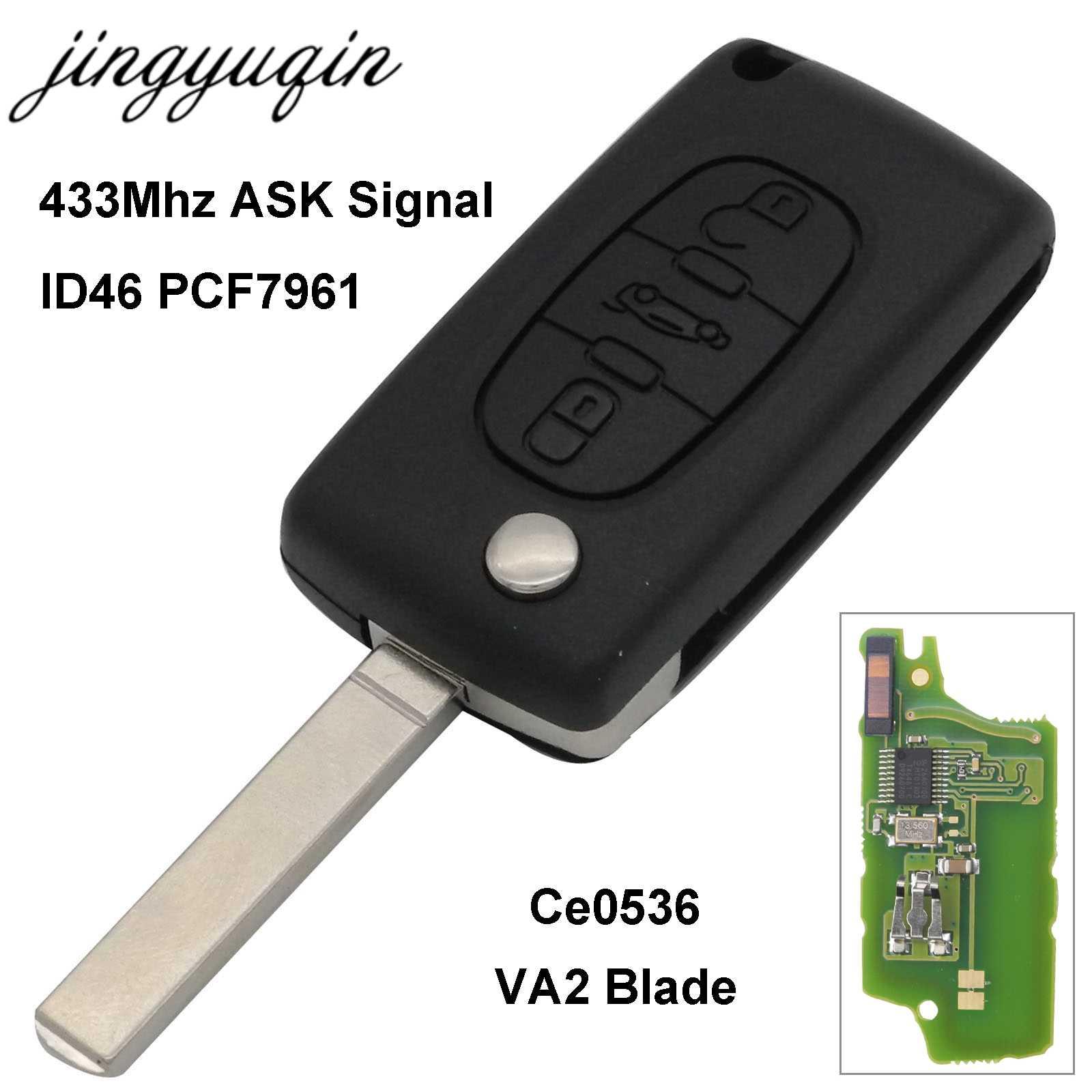 jingyuqin VA2 Cut/Uncut Blade Car Remote Key for CITROEN C2 C3 C4 C5  Berlingo Picasso 3 Buttons Flip Fob Control CE0536 ASK