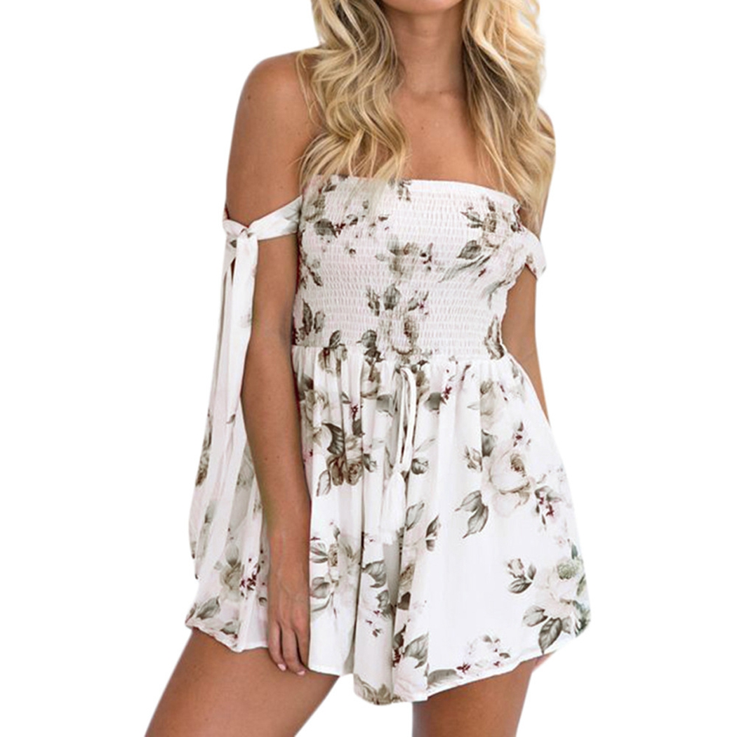 Sexy Off Shoulder Playsuit Women Rompers Summer Floral Print Lace Up Bow Sleeve Jumpsuits Ladies Boho Beach Overalls Body Femme