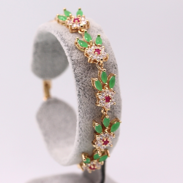 Fashion Women Jewelry Champagne Gold Plated  Red & Green Zircon AAA Zircon Bracelet Bangle 2colors
