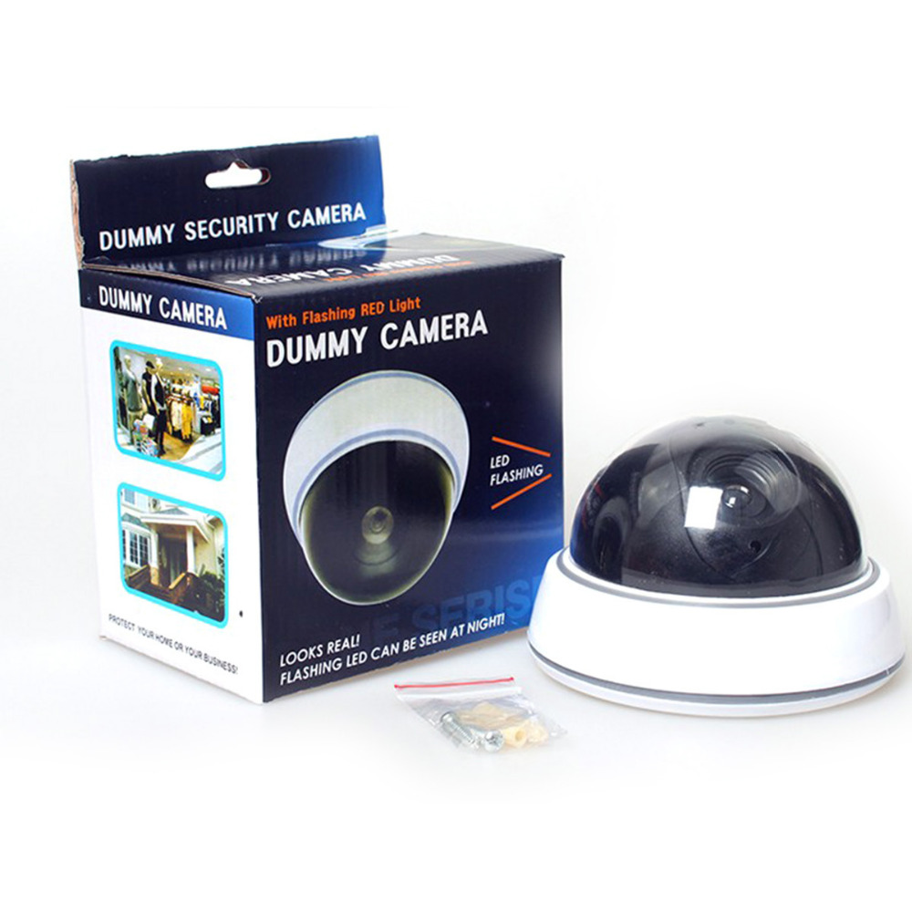 Dummy Camera Fake Dome CCTV Camera Indoor Outdoor Red LED Non-waterproof Camera Flashing Light AA Batteries for Home Security for galaxy c5 pro color screen non working fake dummy display model gold