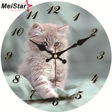 MEISTAR Cute Cat Wall Clock Silent Living Study Corridor Room Decoration Home Decor Watches Vintage Large 4 Size