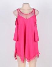 Sleepwear Plus Size Lingerie  Hollow Shoulder Nightdress