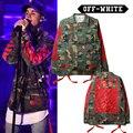 Das Mulheres Dos Homens de alta Qualidade Justin Bieber Jaqueta Kanye West Moda Camo Militar Camuflagem Off-Branco Off White Casacos E Jaquetas casacos